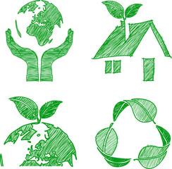 eco doodle set hand drawn vector,illustration