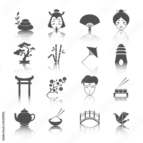 Japanese culture icons set
