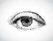 Abstract woman grey eye made from dots. Vector