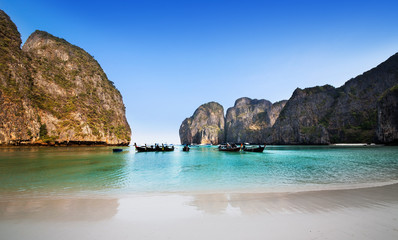 Maya bay or Ao Maya, Krabi, The most beautiful beach in Thailand