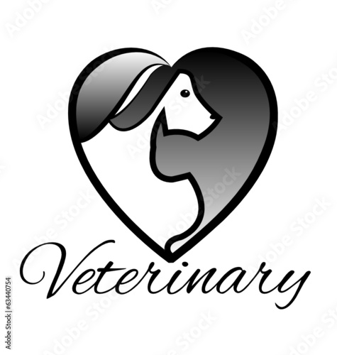 Cat and dog vet silhouette logo vector