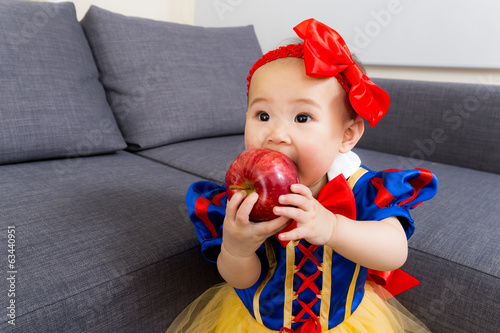 Asian baby girl with halloween party dressing