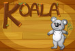 A wooden frame with a koala