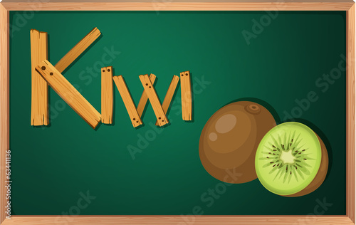 A blackboard with kiwi