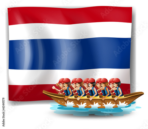 A boat with men near the flag of Thailand