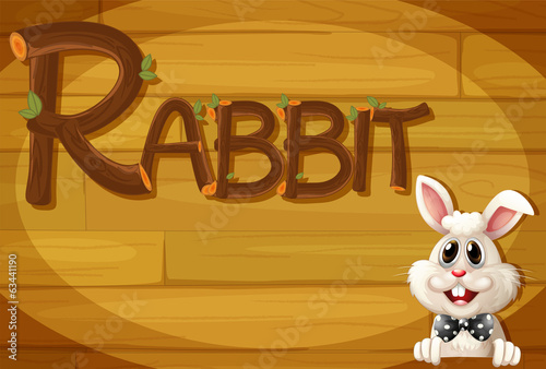A wooden frame with a rabbit