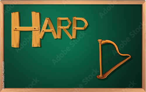 A blackboard with a harp