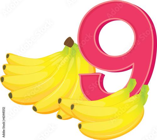 Nine ripe bananas