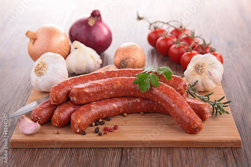 raw sausage on board