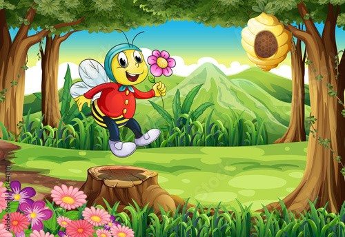 A happy bee at the forest