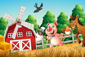 Happy farm animals