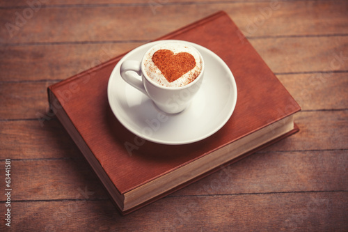 canvas print picture Cup of сoffee with shape heart
