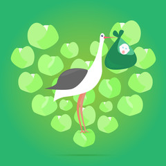 Vector stork carrying a cute baby