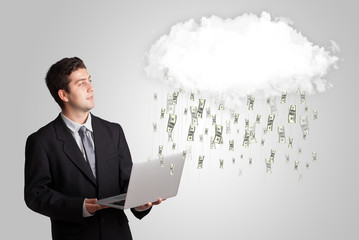 Man with cloud and money rain concept