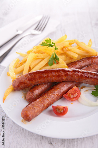 fried sausage and fries