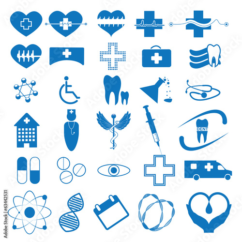 Abstract blue medical iconsset