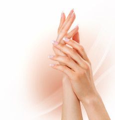 Manicure concept. Woman hands with french manicure