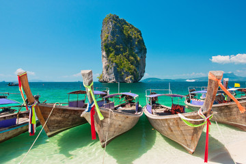 Beautiful Beach & Longtail Boats at Krabi, Thailand