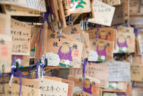 Wooden prayer tablets at a Ueno Toshogu Shrine, Tokyo, Japan.