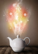Tea pot with abstract steam and colorful lights