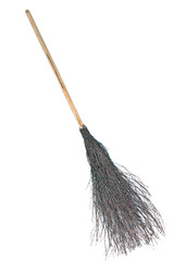 Wicked broom - witch's broomstick isolated on white