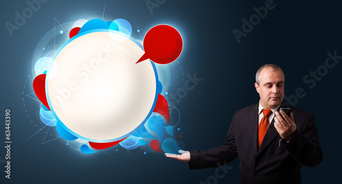 businessman making phone call and presenting abstract modern spe