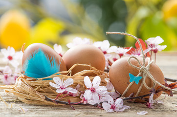 Easter time, rustic decorated eggs on old wood