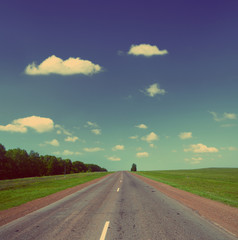 road under sky - vintage retro style
