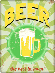 retro beer enamel sign, vector