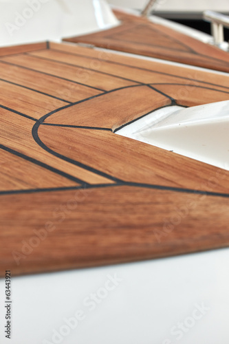 Sailboat bow, wood deck detail,