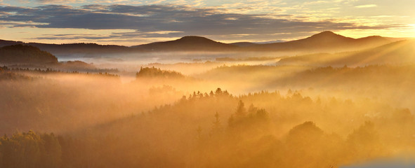 Golden sunrise above the lusatian mountains