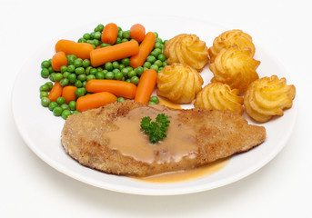 Schnitzel mit Herzoginkartoffeln