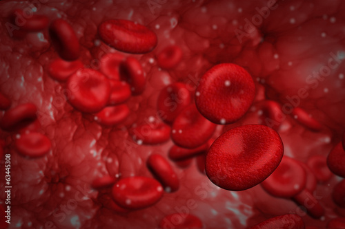 Computer graphic design of red blood cells flowing inside vessel