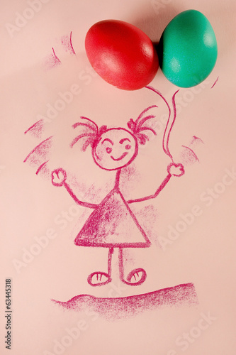Creative Easter concept, little girl holding balloons.