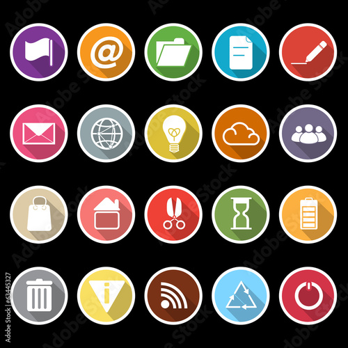 Web and internet icons with long shadow