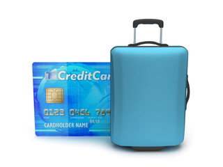 Travel bag and credit card on white background