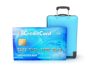 Credit card and suitcase on white background
