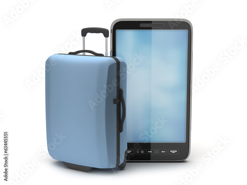 Suitcase and cell phone on white background