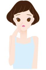 鼻の黒ニキビに悩やむ女の子