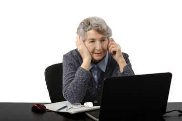 Grey haired old lady waiting online lesson