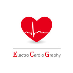 Red electrocardiography vector icon