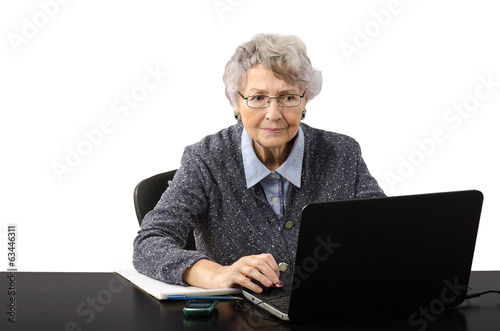Business woman watching suspicious news on the internet