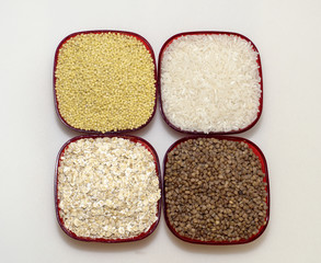 White rice, millet, barley and oats