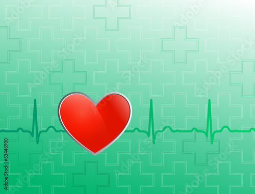 Vector medical background. Red heart on blue and green backgroun