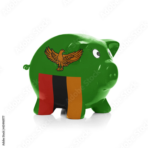 Piggy bank with flag coating over it - Zambia