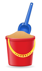 plastic bucket and shovel vector illustration