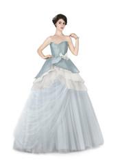 Woman in blue ball dress