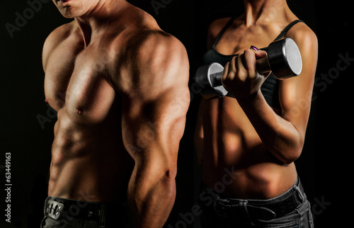 Bodybuilding. Man and woman - 63449163