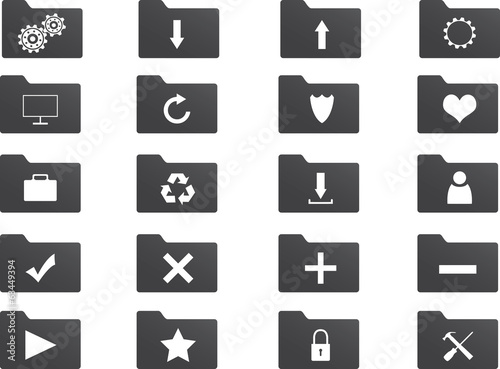 Set of folder icons illustrated on white