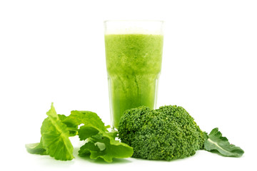 Smoothie juice, healthy drink, mix vegetable on white background